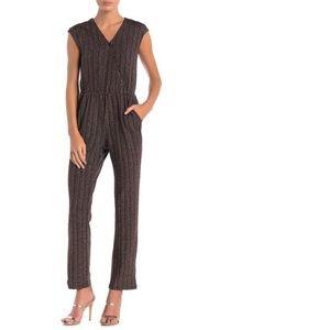 Spense Striped Lurex Jumpsuit Rose Gold V-Neck $89